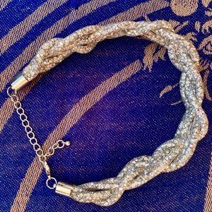 Fashion Nova Bling Braid Choker (Silver)